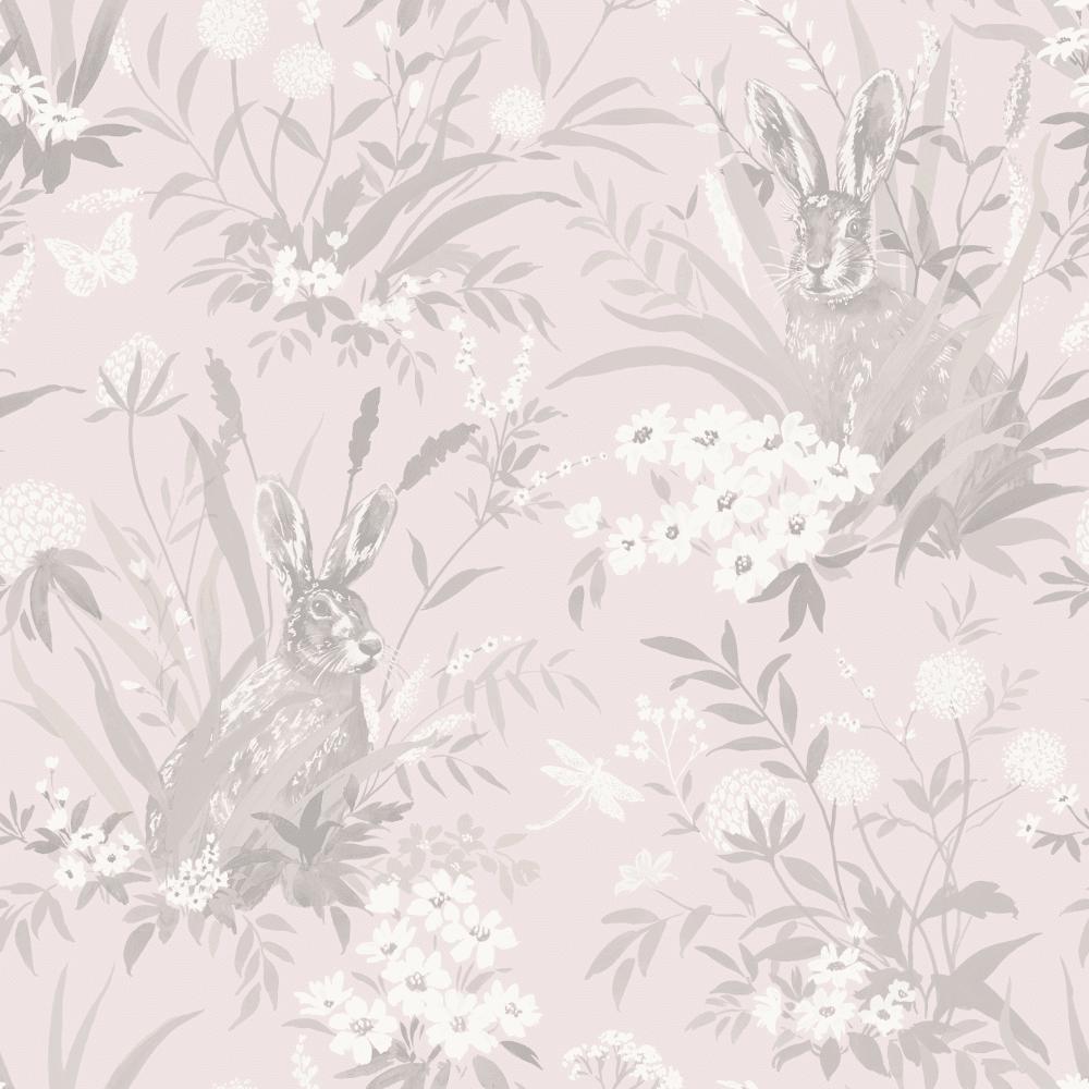 Holden Decor Hares Woodland Leaves Wildlife Flowers Pastel Colour Wallpaper 90880