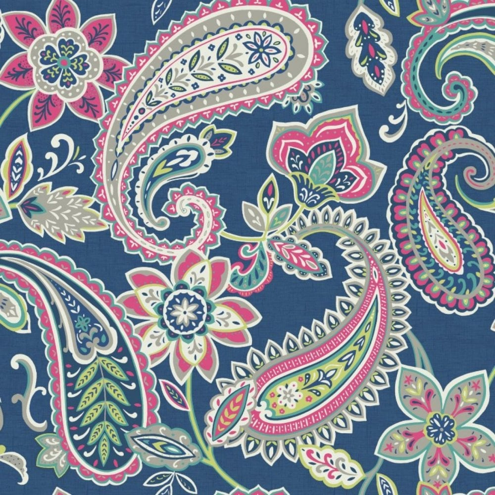 holden décor indira paisley pattern floral flower motif metallic