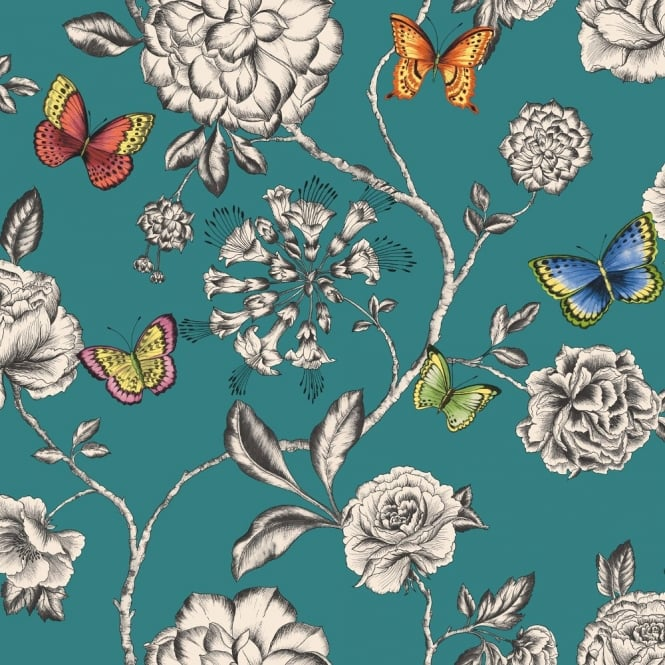 Holden Decor Holden Décor Keilena Floral Pattern Butterfly Rose Flower Motif Wallpaper 98422