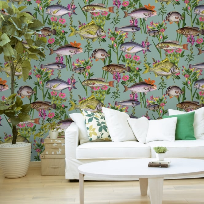 Holden Decor Holden Décor Lagoon Fish Pattern Wallpaper Sea Life Aquarium Marine Flowers 12171