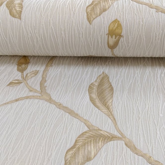 Holden Decor Holden Décor Lia Floral Pattern Flower Twig Motif Embossed Stripe Wallpaper 35172