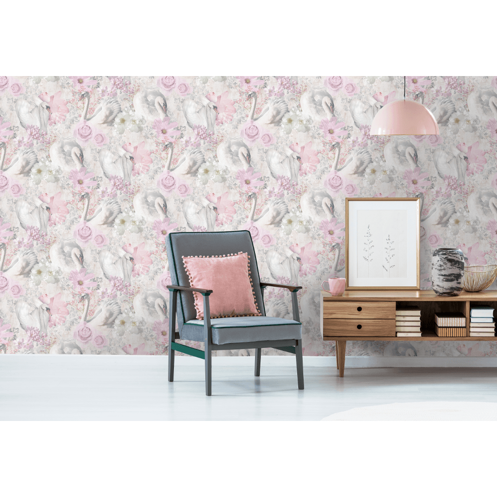 Holden Decor Swan Glitter Floral Pattern Paper Pastel Colour Elegant Wallpaper 90700