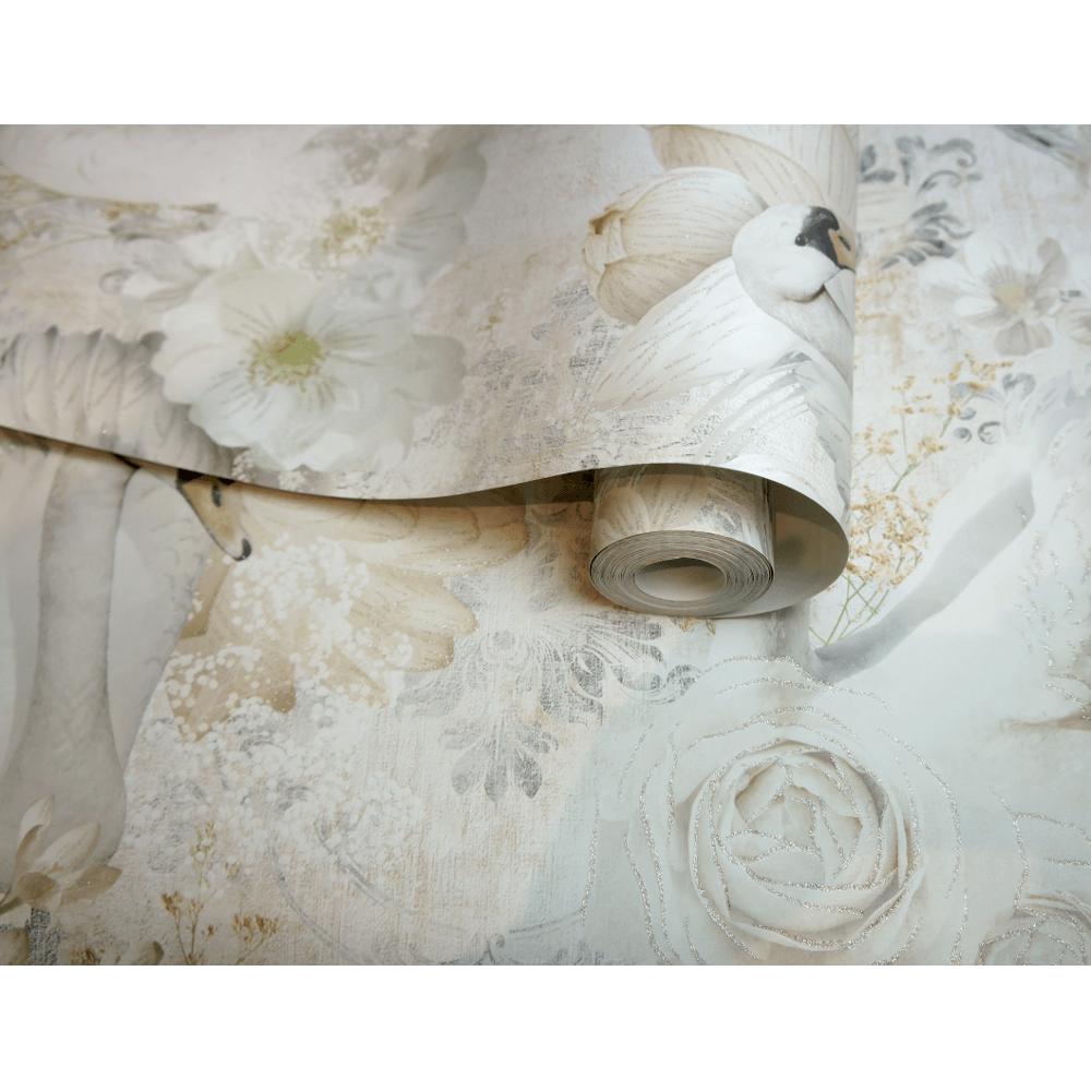 holden decor holden d%C3%A9cor swan glitter floral pattern paper pastel colour elegant wallpaper 90701 p6039 16633 image