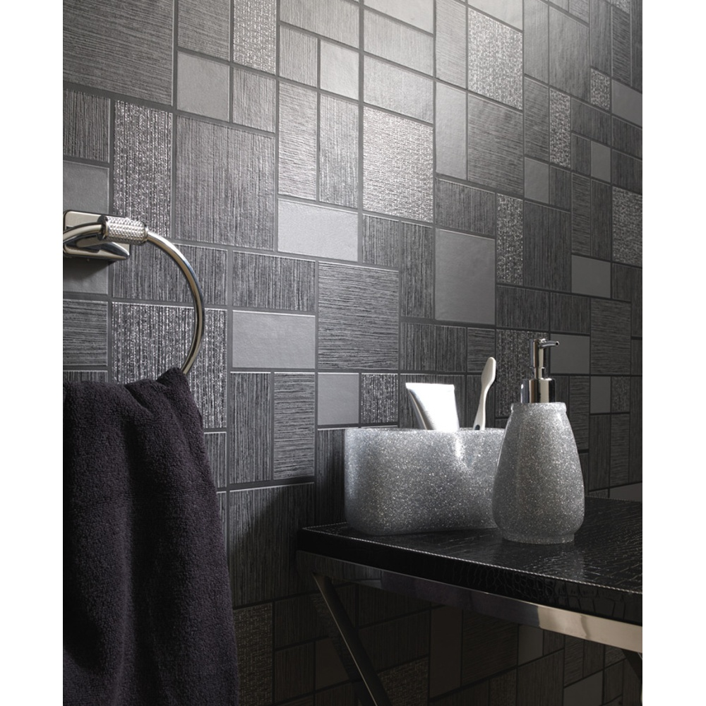 Holden d cor tile pattern glitter motif kitchen bathroom for Bathroom wallpaper