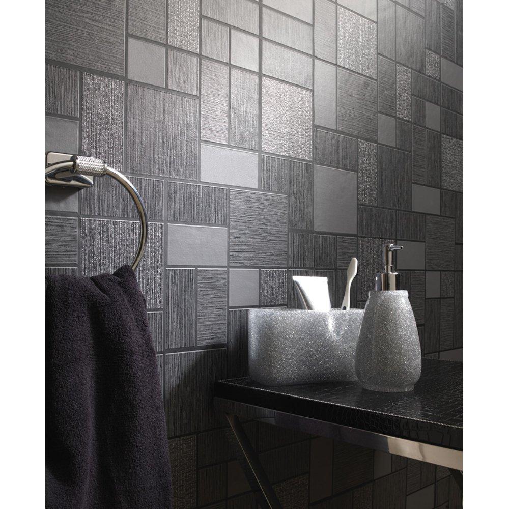 Holden d cor tile pattern glitter kitchen bathroom - Papier vinyl salle de bain ...