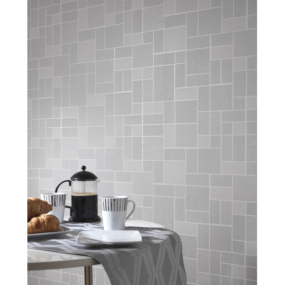 Holden d cor tile pattern glitter motif kitchen bathroom for Gray vinyl wallpaper