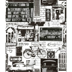 Holden Decor Urban Sights Black White Brick Car Bike Vinyl Patterned Wallpaper 11239