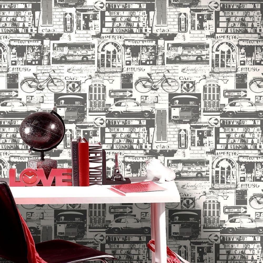 Holden Car Wallpaper: Holden Decor Urban Sights Black White Vinyl Patterned
