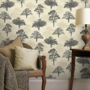 Holden Decor Woodland Forest Pattern Tree Nature Glitter Motif Wallpaper 11472