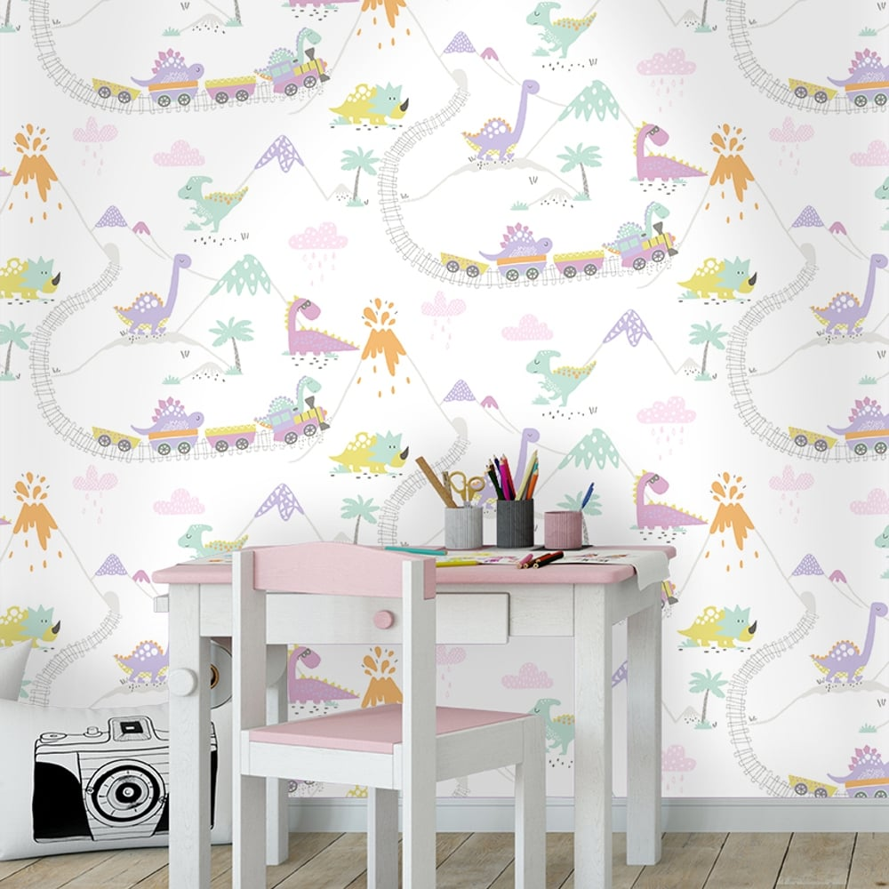 Holden Dino Town Dinosaur Pattern Childrens Wallpaper Kids Cartoon Train 12532 Cream Heather