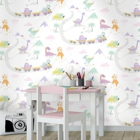 Delightful Holden Dino Town Dinosaur Pattern Childrens Wallpaper Kids Cartoon Train  12532