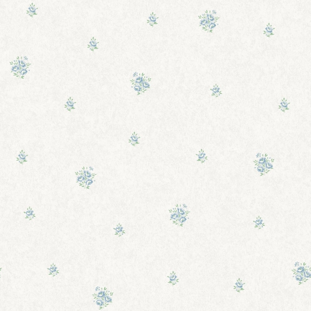 Holden Eden Hall Tabitha Blue Flower Pattern Wallpaper Floral Motif Metallic 98801