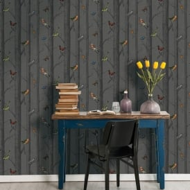 Holden Epping Forest Pattern Wallpaper Bird Butterfly Tree Woods Motif 12230