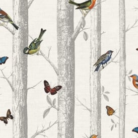Holden Epping Forest Pattern Wallpaper Bird Butterfly Tree Woods Motif 12231