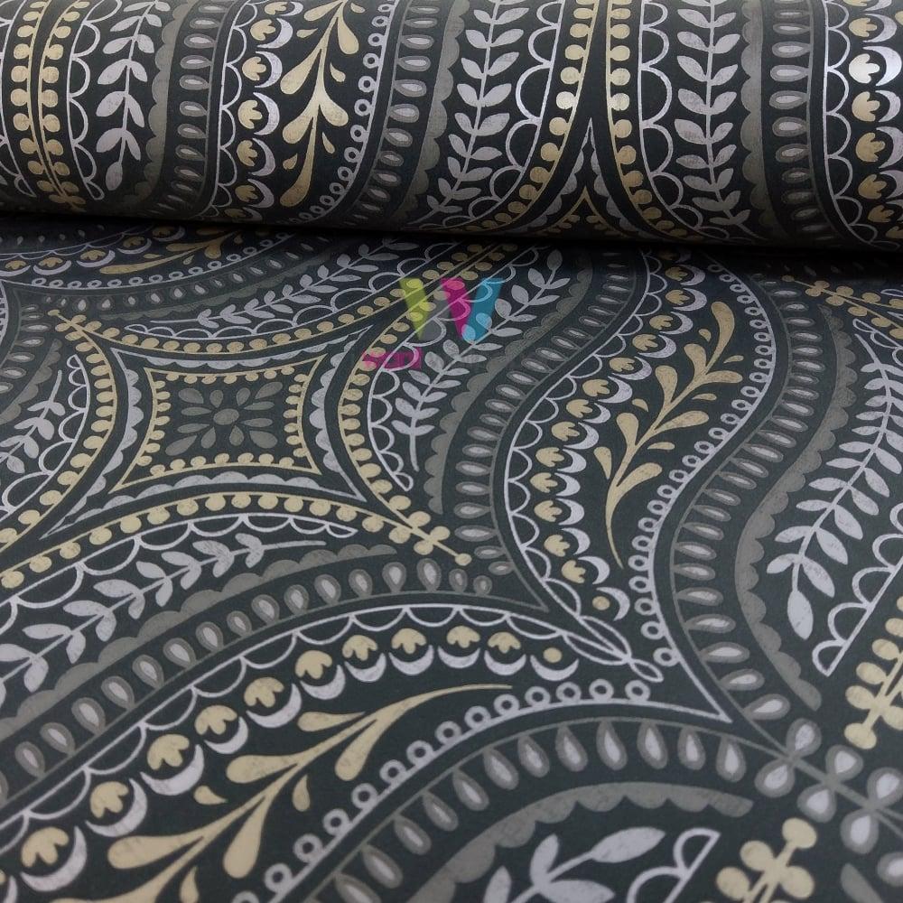 holden farah damask asian leaf pattern wallpaper metallic floral motif 41550 black gold i. Black Bedroom Furniture Sets. Home Design Ideas