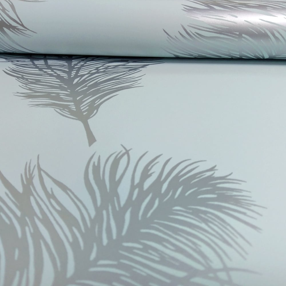 HOLDEN DECOR 12628 METALLIC FAWNING FEATHER WALLPAPER SILVER TEAL