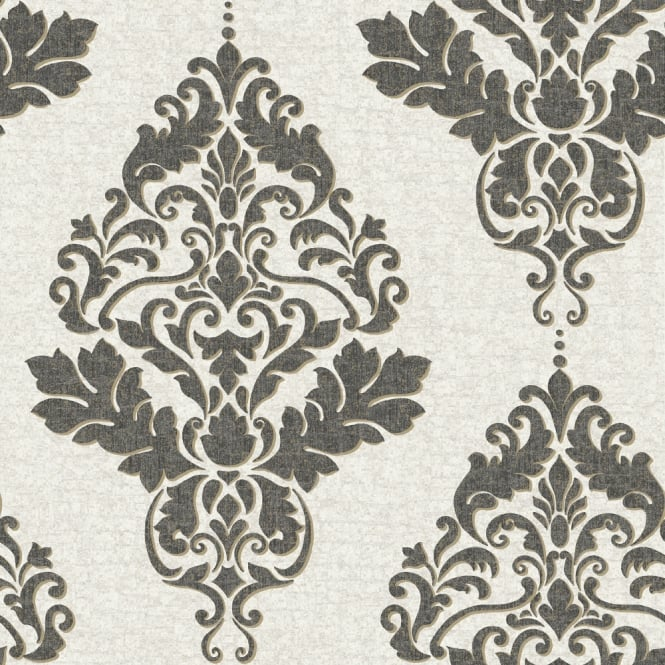 Holden Hadrian Damask Pattern Wallpaper Effect Metallic ...