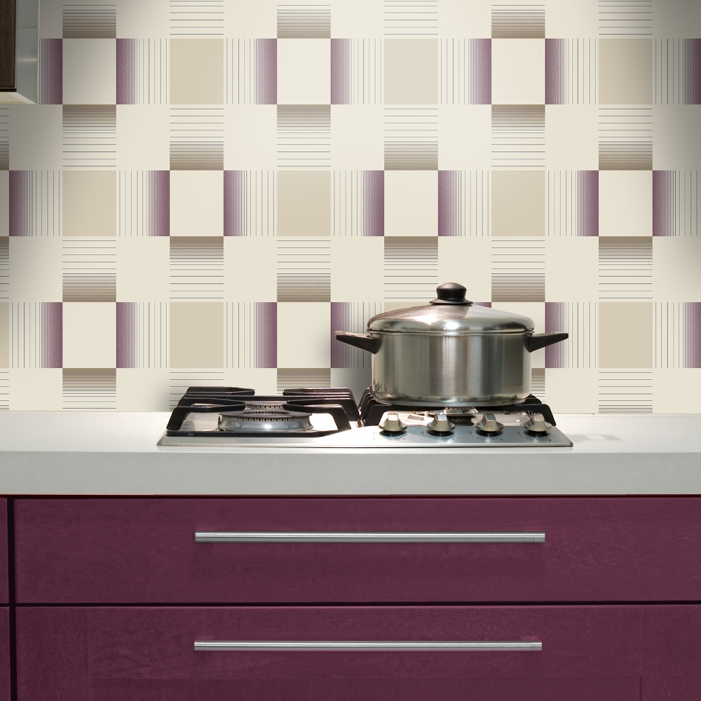 Holden hikari square stripe pattern embossed vinyl for Kitchen wallpaper designs