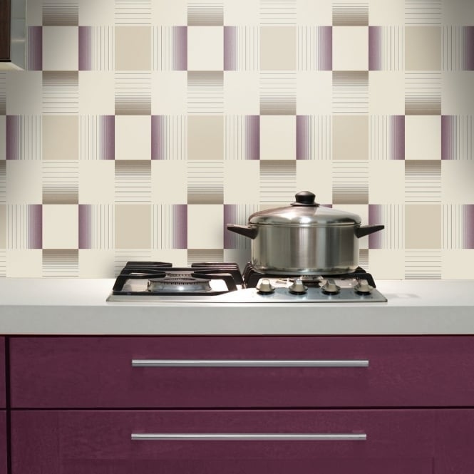 Wallpaper Tiles For Kitchen: Holden Hikari Square Stripe Pattern Embossed Vinyl