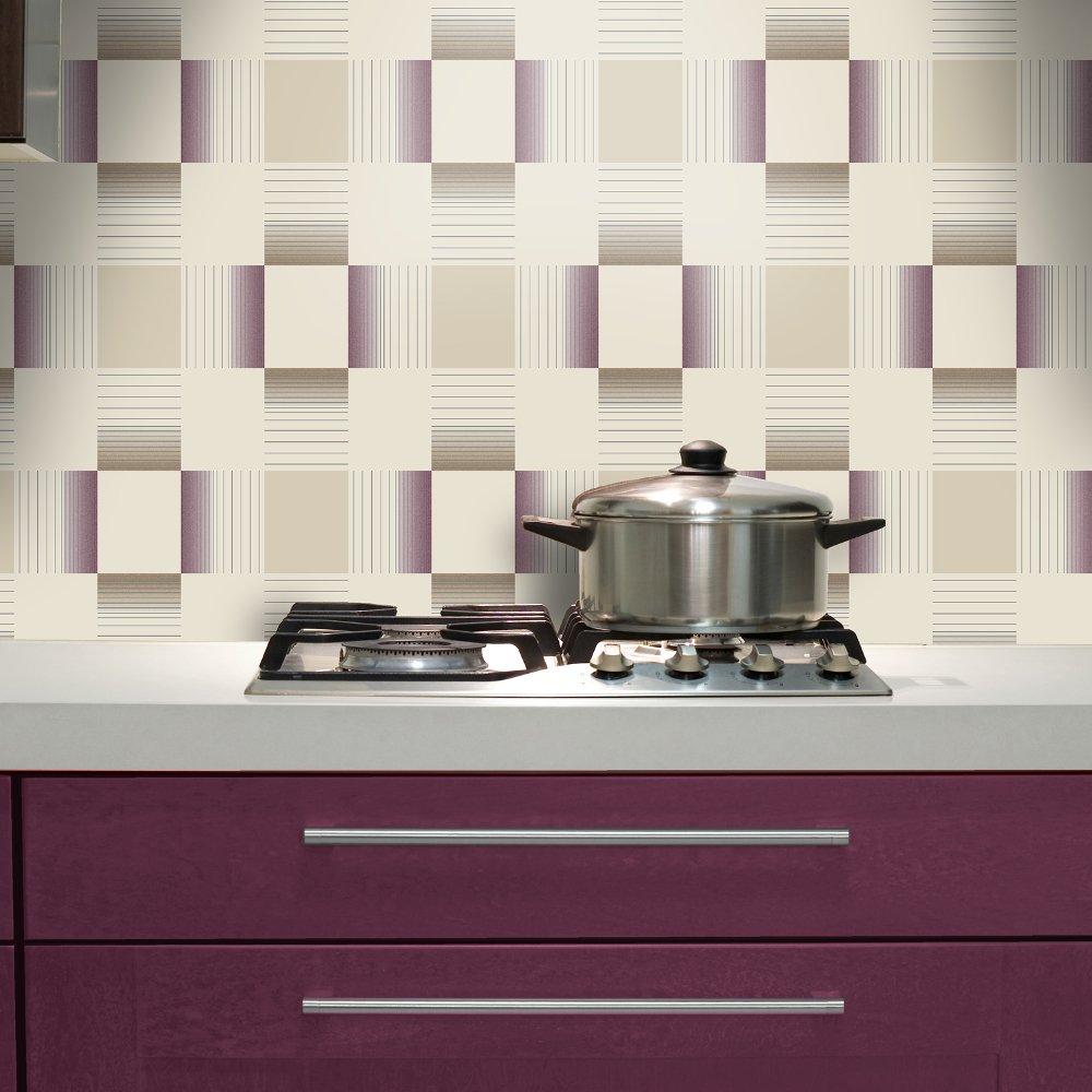 Tiled Wallpaper For Bathrooms: Holden Hikari Square Stripe Pattern Embossed Vinyl