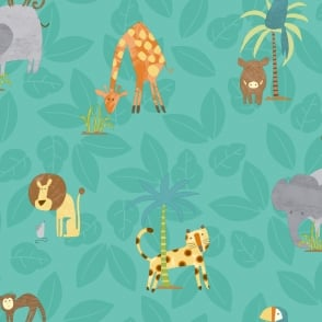 Belgravia Menagerie Teal Jungle Animals Feature Wallpaper 2004