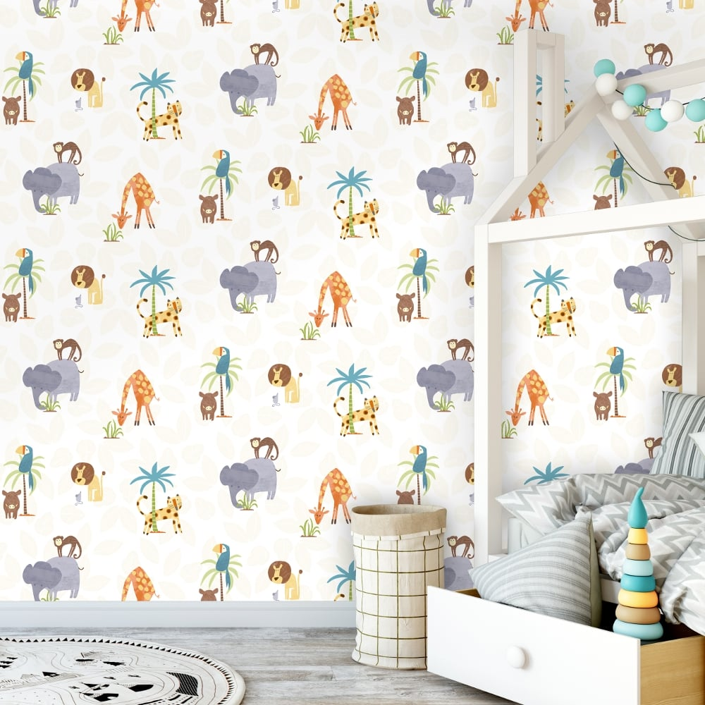 Use Childen S Room Wallpaper To Add Oodles Of Character: Holden Jungle Friends Childrens Animal Wallpaper Lion