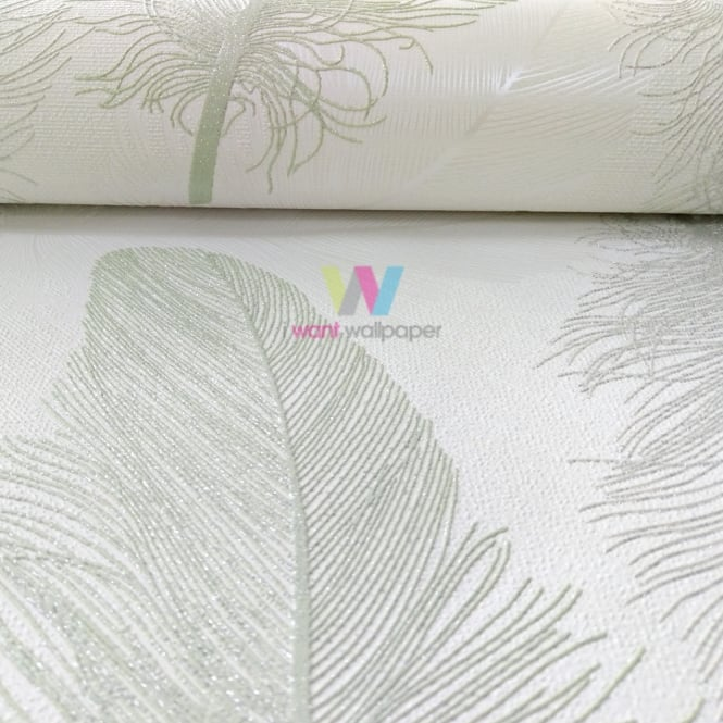 Holden Decor Holden Maisey Feather Pattern Wallpaper Leaf Glitter Motif Embossed Metallic 75760