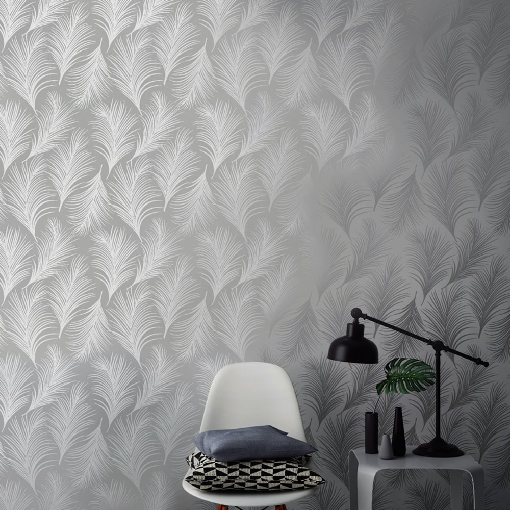 Holden metallic feather pattern wallpaper leaf motif for Designer wallpaper uk