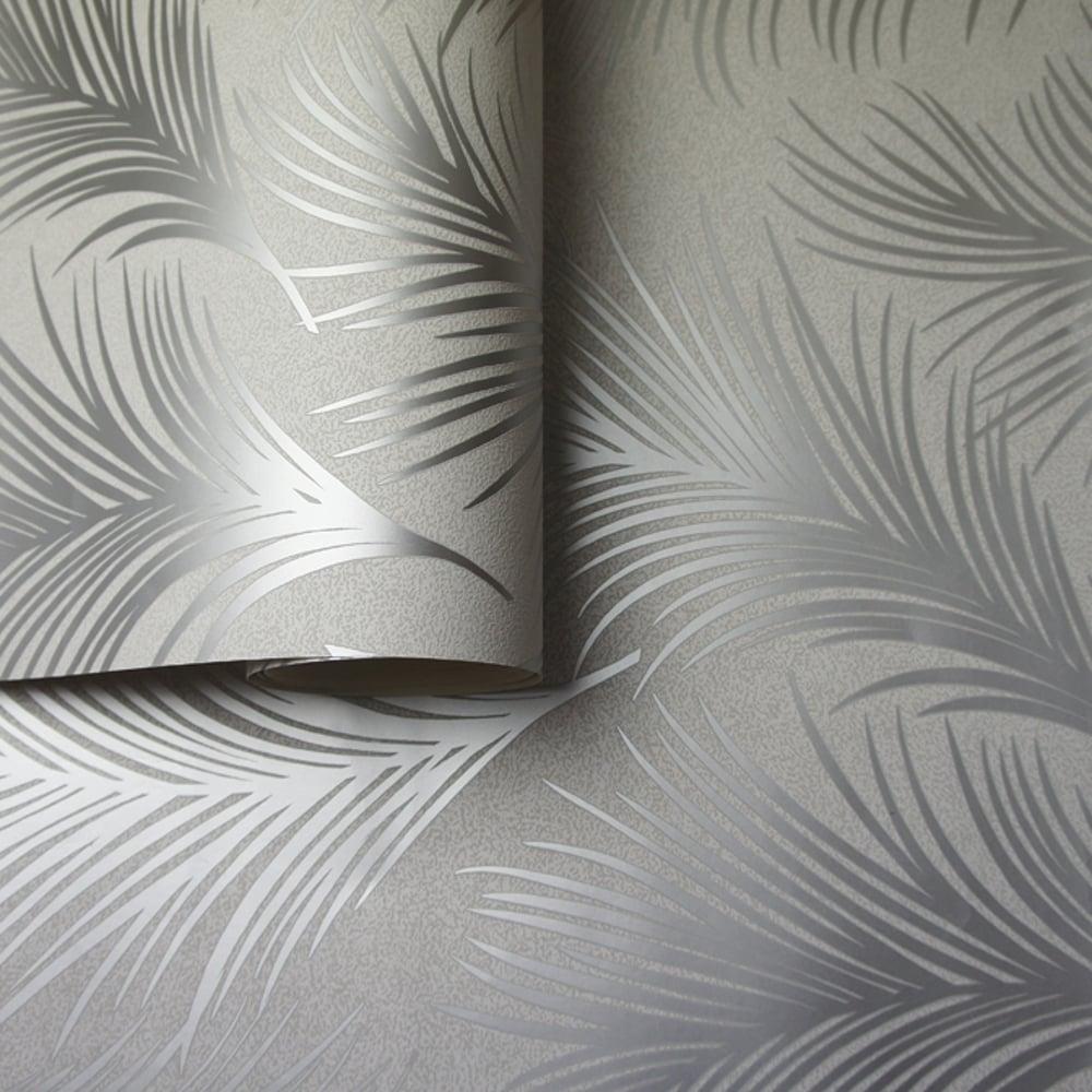 Holden Metallic Feather Pattern Wallpaper Leaf Motif Modern Textured Exclusive 50081