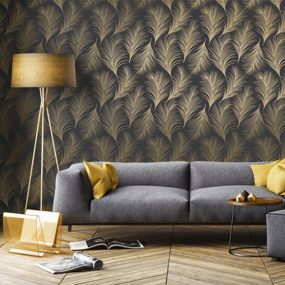 Holden Metallic Feather Pattern Wallpaper Leaf Motif