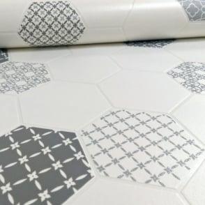 Holden Moroccan Tile Pattern Floral Glitter Kitchen Bathroom Vinyl Wallpaper 89260