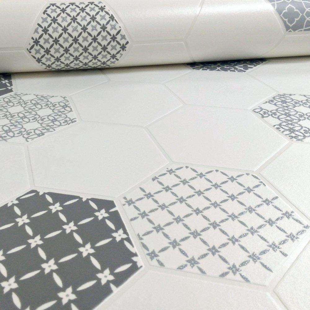 Wallpaper For Bathrooms Vinyl Washable Wallpaper: Holden Tile Pattern Floral Glitter Kitchen Bathroom