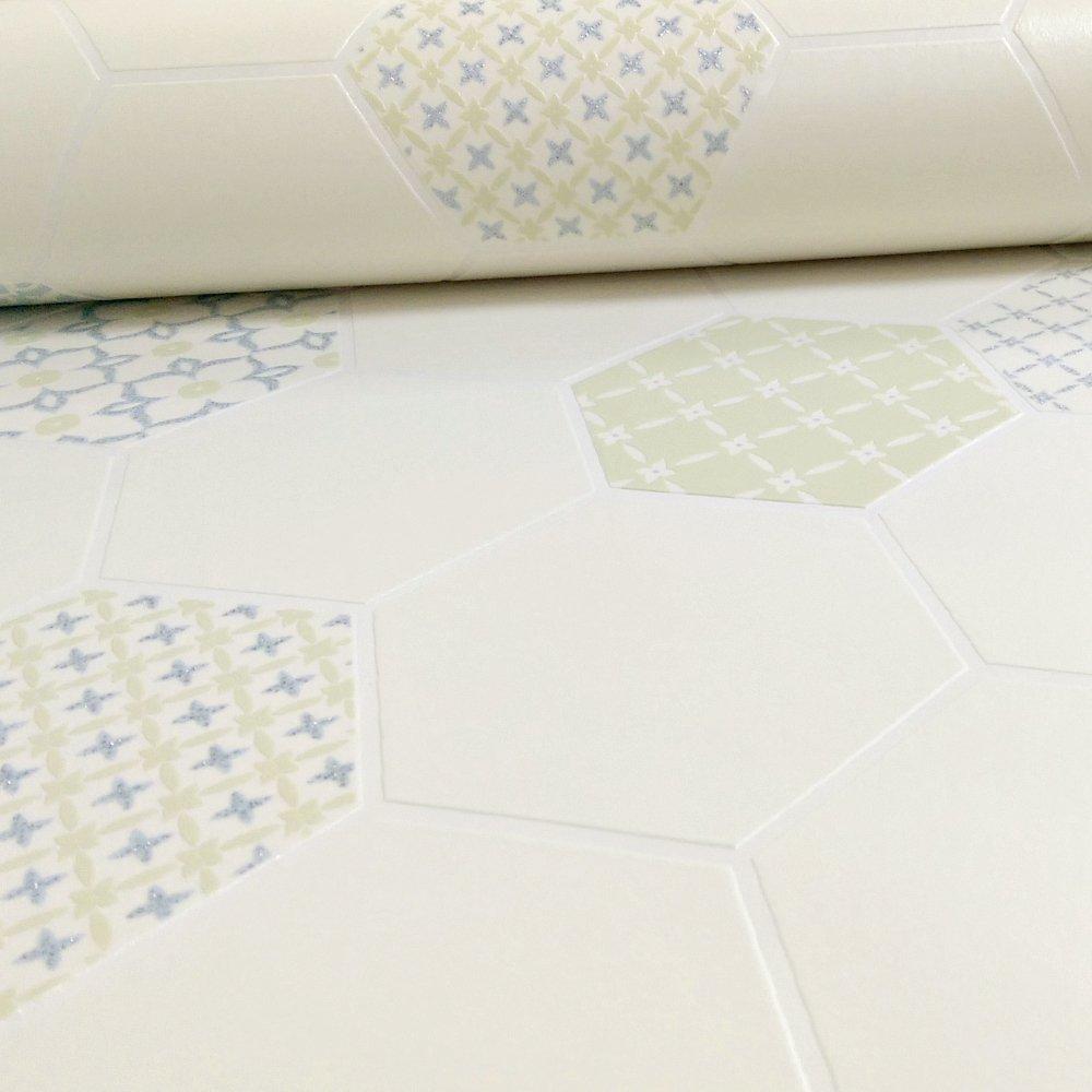Holden tile pattern floral glitter kitchen bathroom for Vinyl wallpaper for bathroom