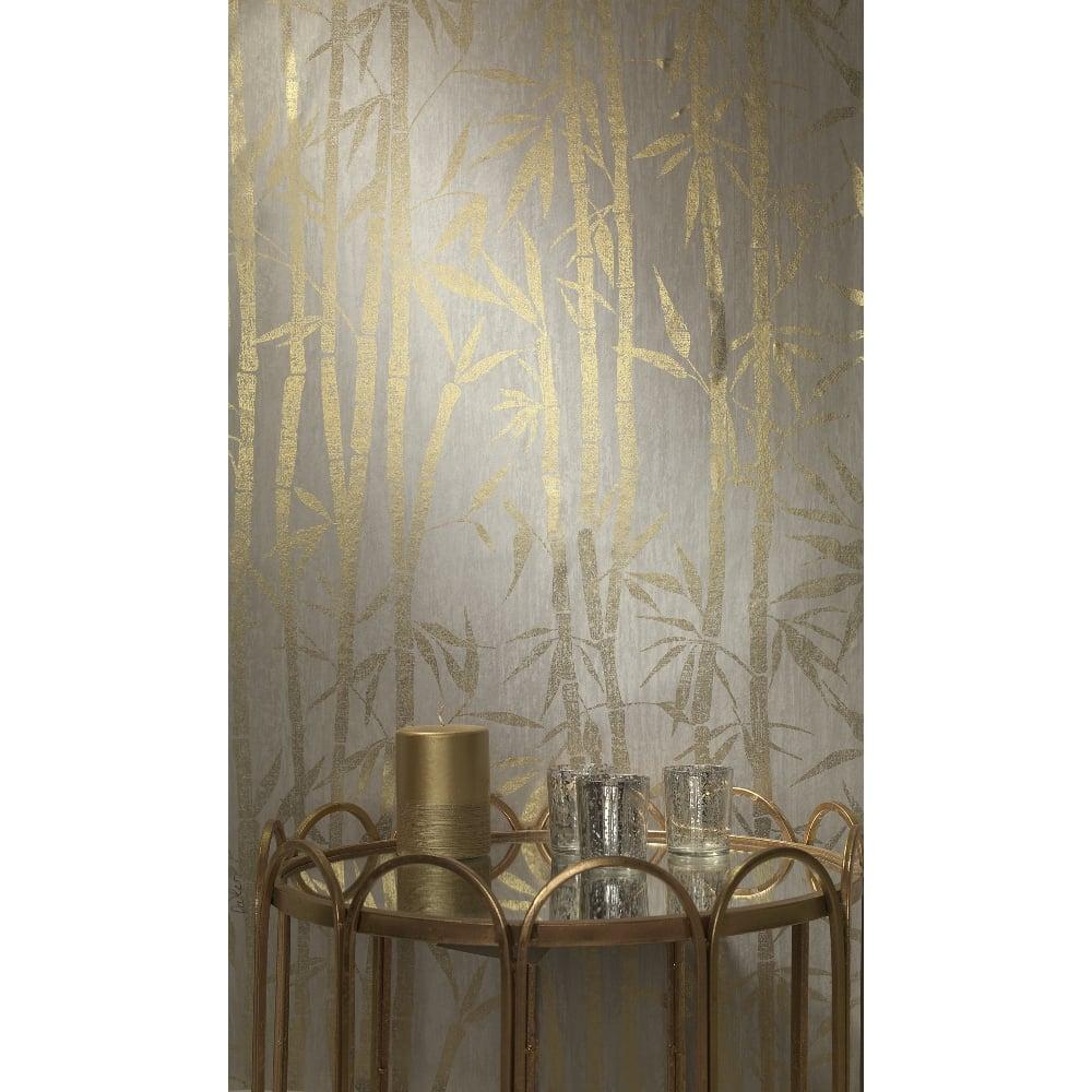 Holden Nandina Leaf Patterned Wallpaper Metallic Motif Foil