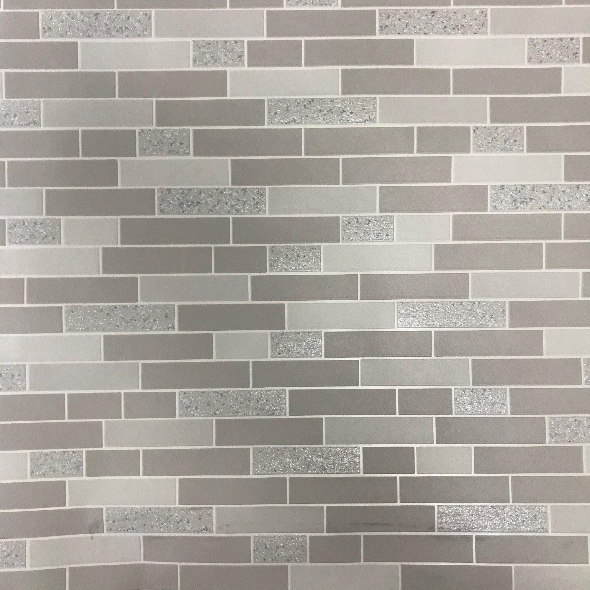 Holden Decor Black Grey Glitter Effect Granite Silver Tile on a Roll Wallpaper
