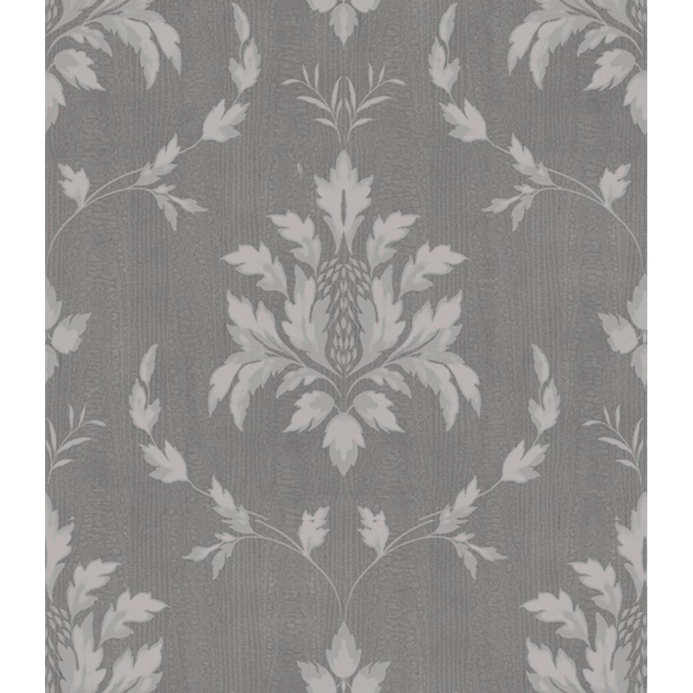 Holden Olivia Leaf Pattern Damask Wallpaper Metallic Textured