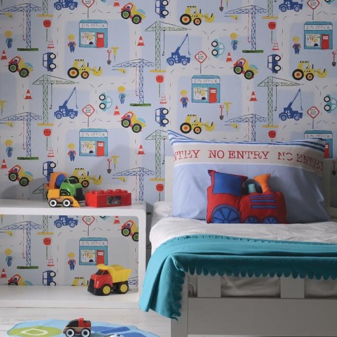 Holden Car Wallpaper: Holden Road Work Pattern Childrens Wallpaper Digger