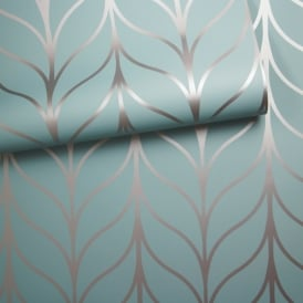 Holden Shimmering Geo Striped Wallpaper Art Deco Trellis Metallic 50063 Exclusive