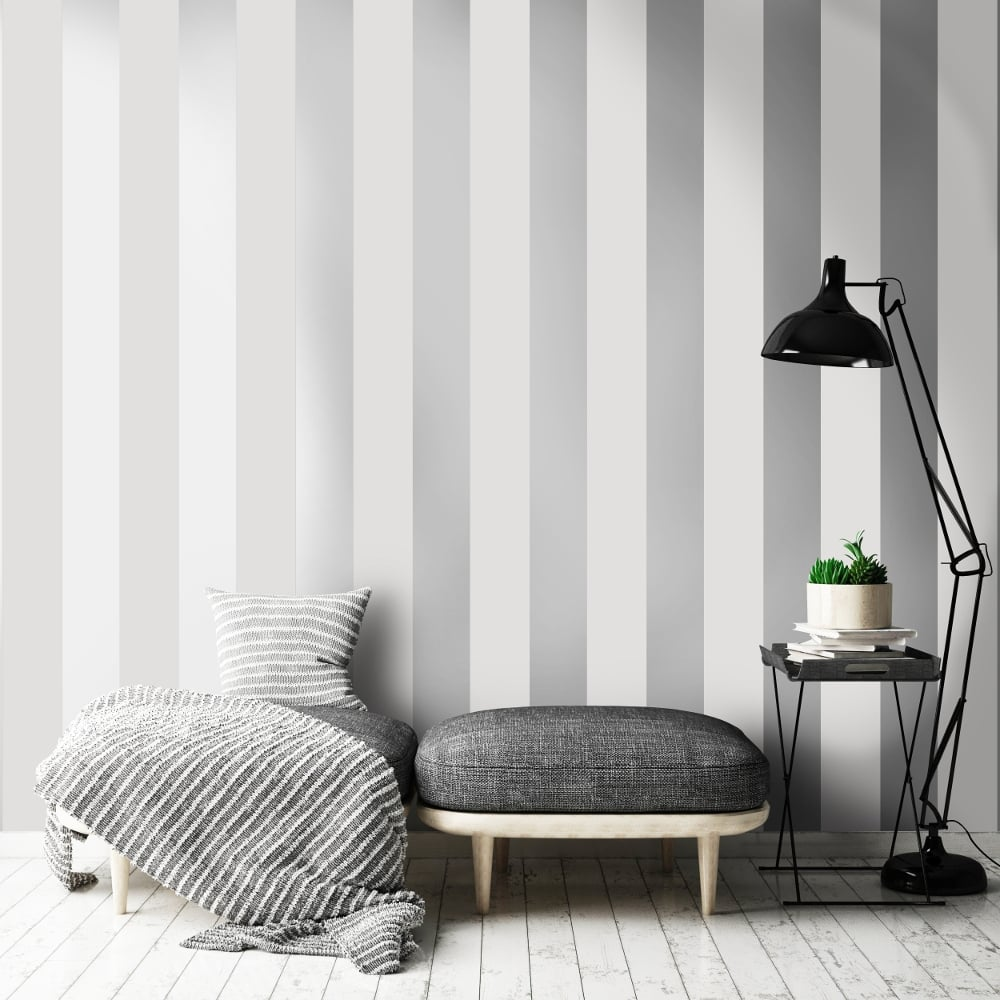 Holden Shimmering Stripe Pattern Wallpaper Metallic Striped Motif 50070 Exclusive Grey Silver I Want Wallpaper