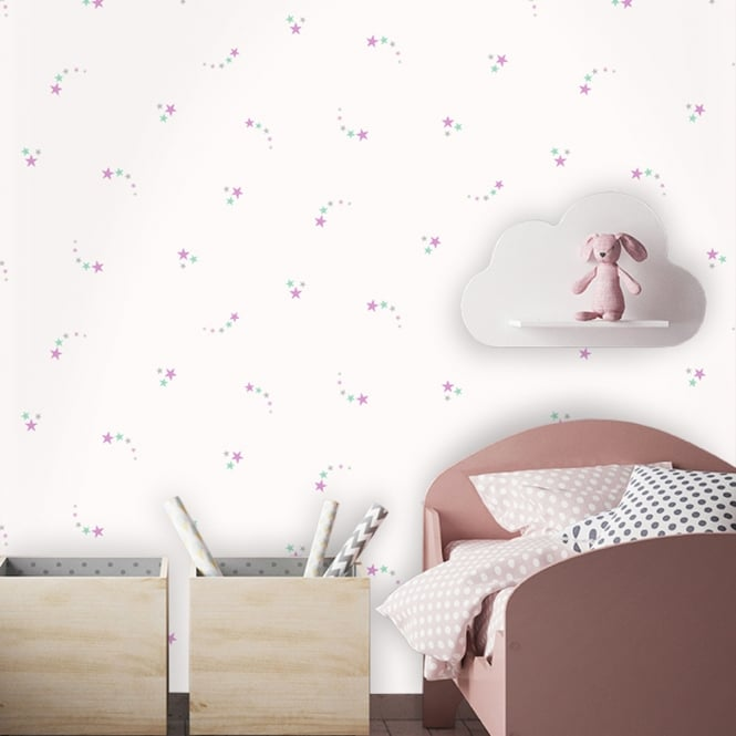 Holden Decor Holden Shooting Stars Pattern Childrens Wallpaper Glitter Star Motif Kids 12591