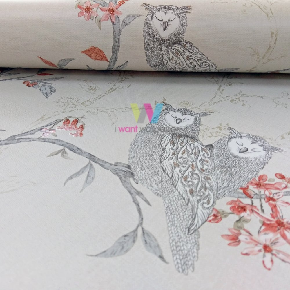 Holden Sleepy Owls Pattern Wallpaper Glitter Motif Birds