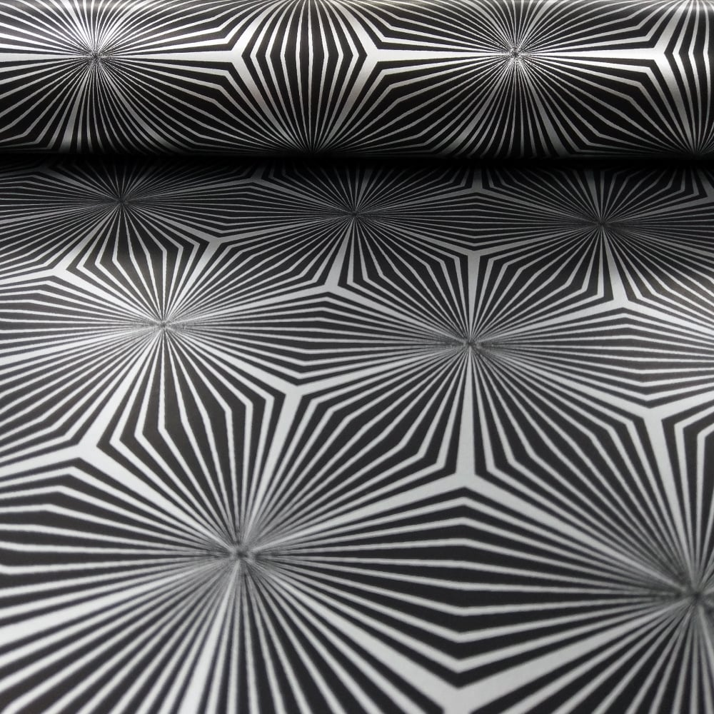 Holden sparkle star geometric pattern wallpaper metallic abstract 3d effect 12616 black silver i want wallpaper
