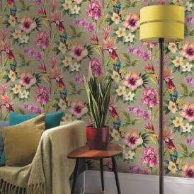 Holden Tropical Parrot Flower Pattern Wallpaper Bird Floral Metallic 98820