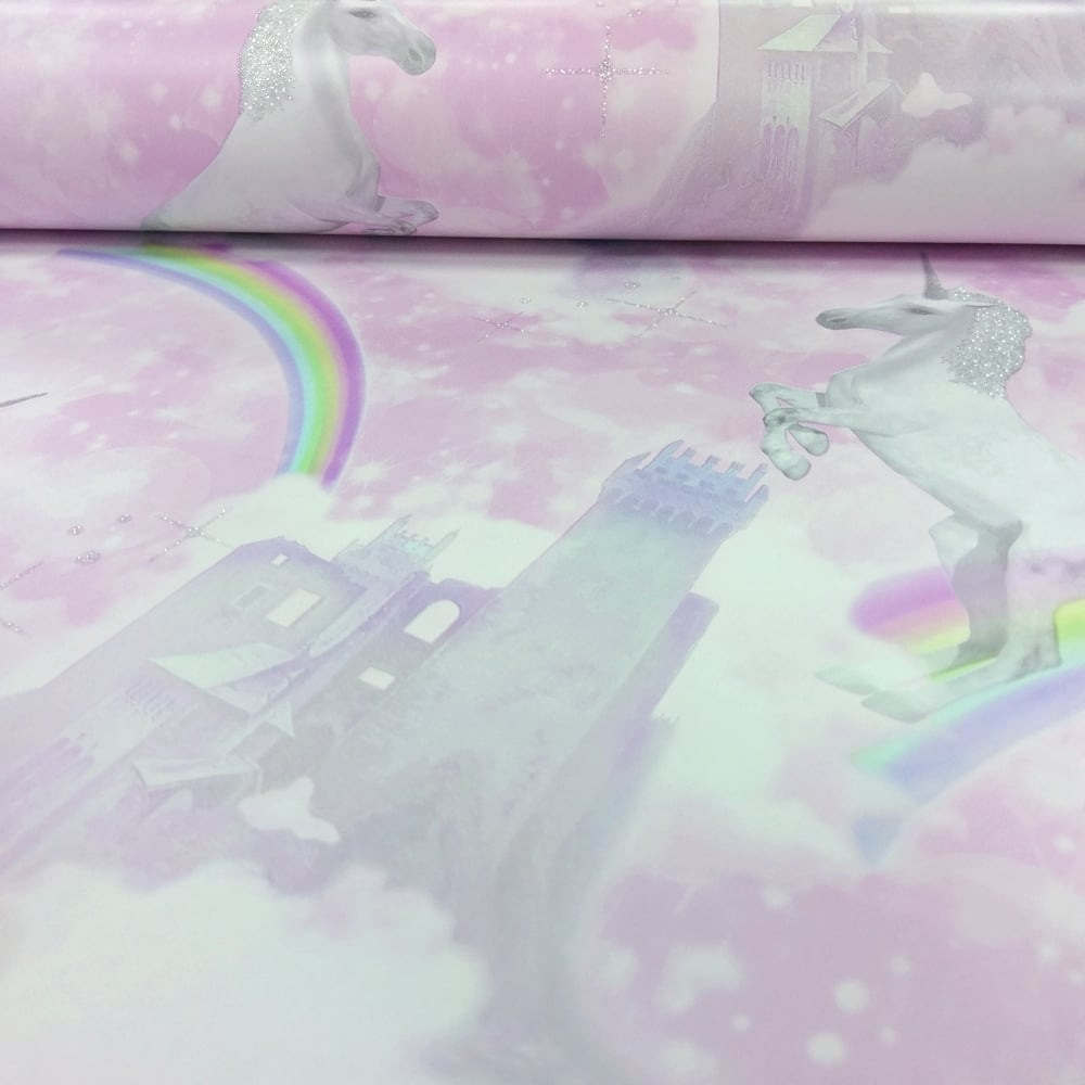 Holden Unicorns Pattern Childrens Wallpaper Glitter Motif Castle Rainbow 12480