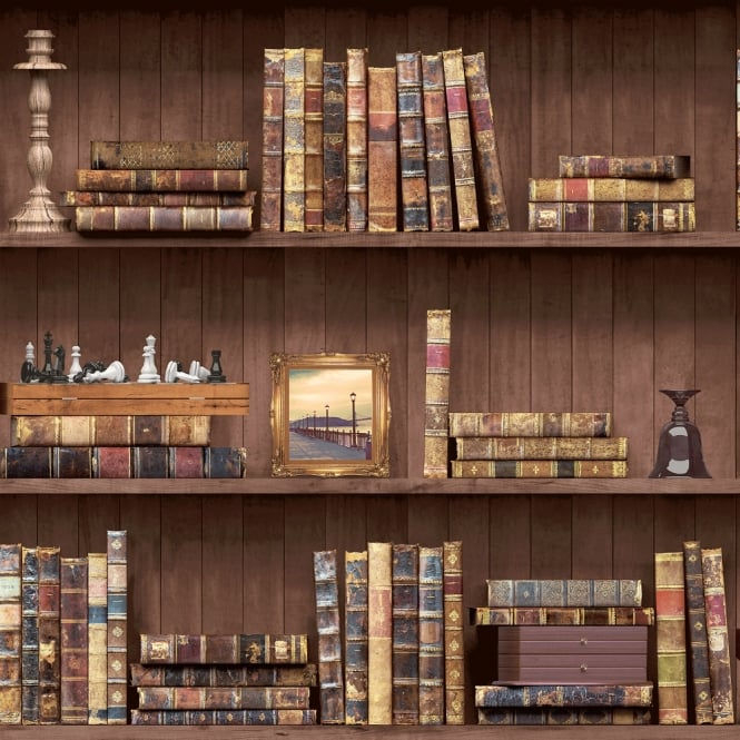 Holden Decor Holden Vintage Book Case Pattern Wallpaper Faux Effect Wood Shelf Library 11950