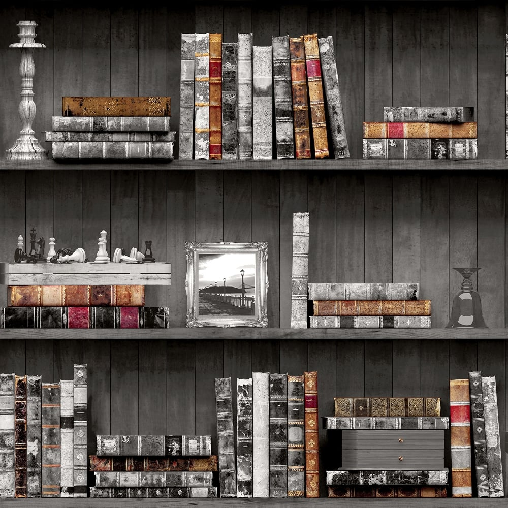 Holden Vintage Book Case Pattern Wallpaper Faux Effect