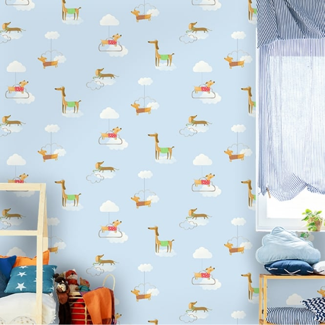 Holden Decor Holden Walkies Dog Pattern Childrens Wallpaper Kids Cartoon Clouds Puppies 12550