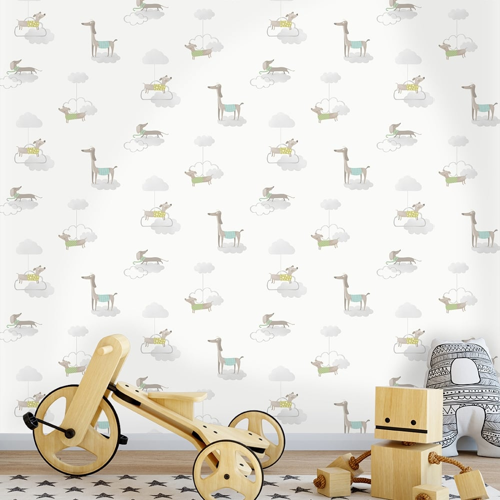 Holden Walkies Dog Pattern Childrens Wallpaper Kids Cartoon Clouds Puppies 12551