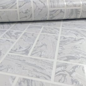 Holden Decor Marble Tile Pattern Faux Effect Kitchen Bathroom Vinyl Wallpaper 89251