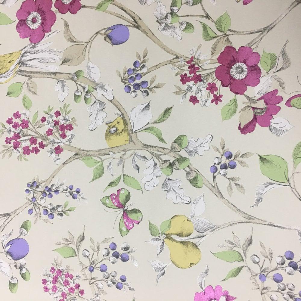 Purple Plum Floral Wallpaper White Pink Flowers Gold Metallic Feature Holden